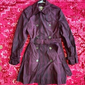 Burberry Brit Purple Check Trench Coat Jacket 10